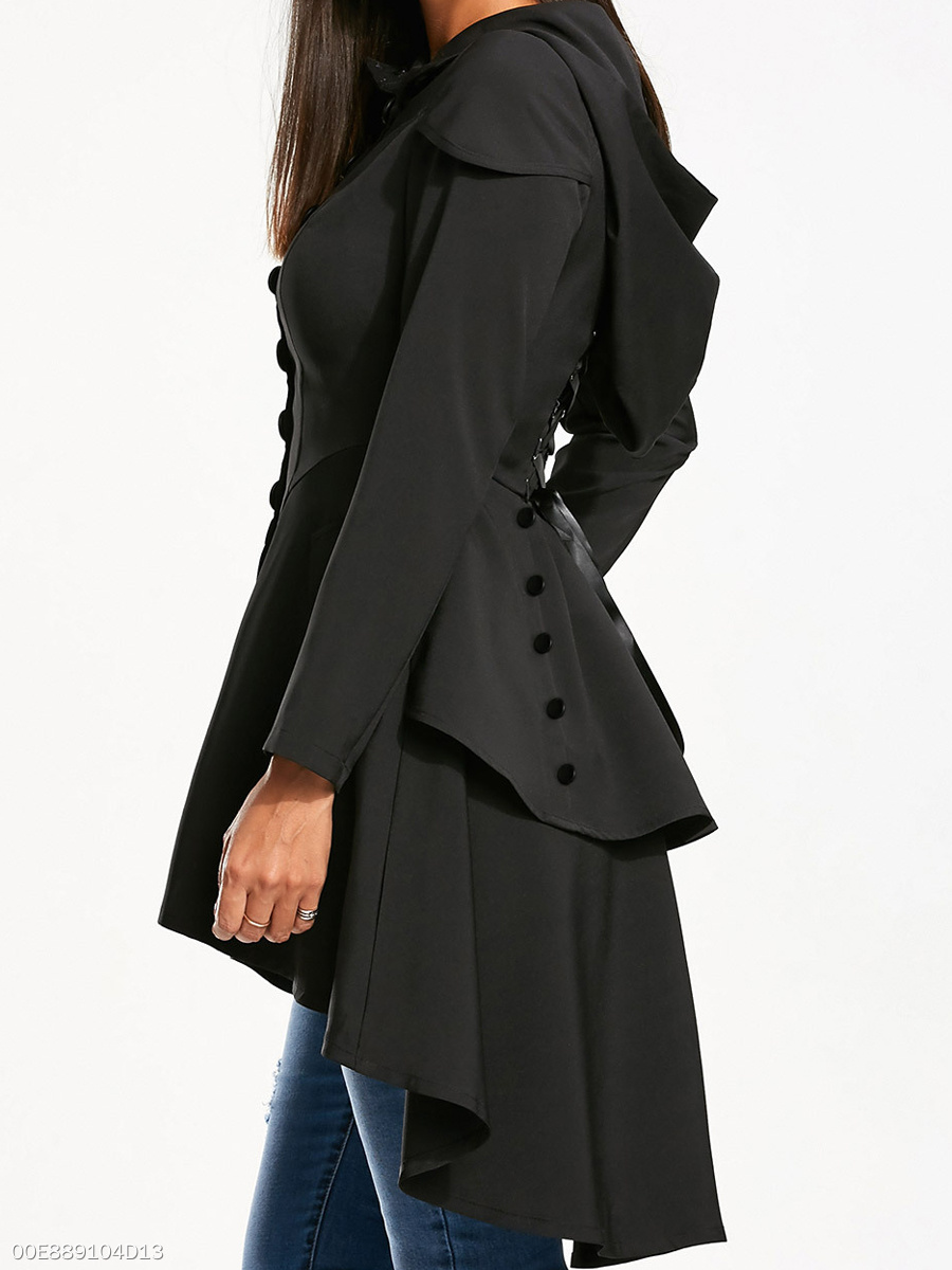 Hooded  Decorative Button Removable Tie  Plain  Long Sleeve Trench Coats