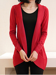 Band Collar  Plain Cardigan