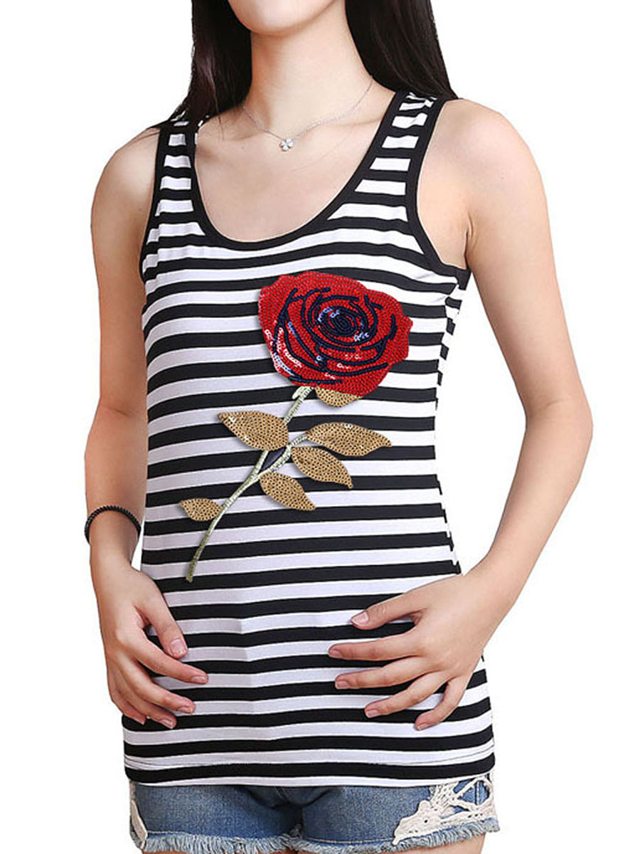 Round Neck Sequin Flower Striped Sleeveless T-Shirt