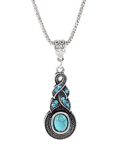 Blue Crystal Inlaid Turquoise Gourd Pendant Necklace Set