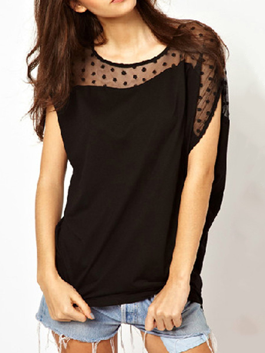 Summer  Polyester  Women  Round Neck  Hollow Out Plain  Short Sleeve Short Sleeve T-Shirts