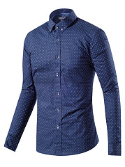 Button Down Collar Patch Pocket Polka Dot Men Shirts