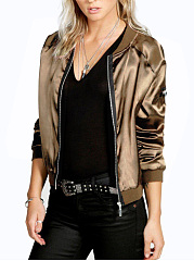 Band Collar  Zips  Plain Bomber Jacket