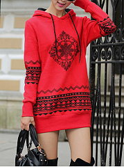 Hooded-Printed-Shift-Dress
