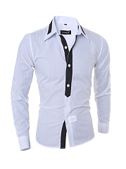 Men's Color Block Small Lapel Shirt