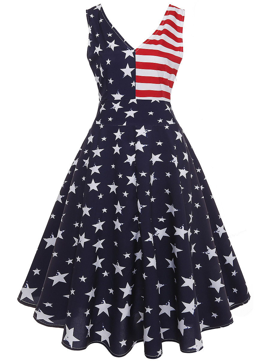 Independence Day US Flag Printed V-Neck Skater Dress