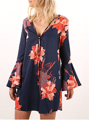 Deep-V-Neck-Bell-Sleeve-Floral-Printed-Shift-Dress