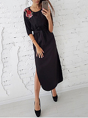 Split Neck  Belt  Applique Maxi Dress