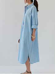 Fold Over Collar  Side Slit Single Breasted  Plain Maxi Dress
