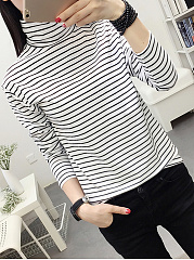 Autumn Spring  Polyester  Women  Turtleneck  Striped Long Sleeve T-Shirts