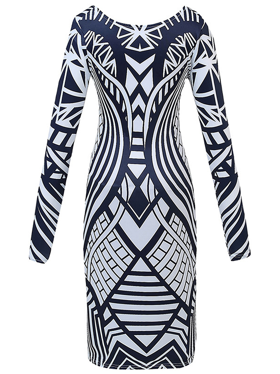 Modern Round Neck Printed Bodycon Dress
