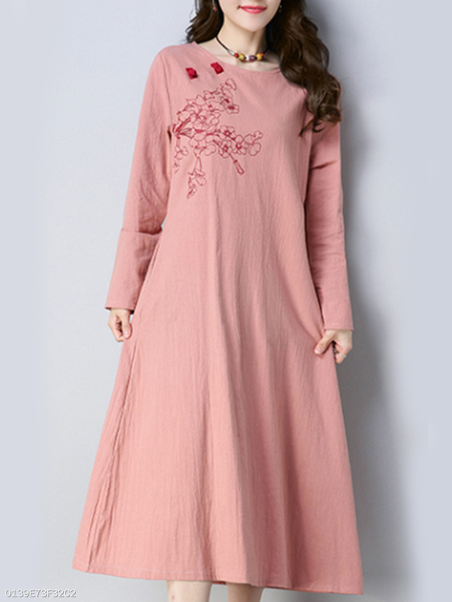 Round Neck Floral Embroidery Slit Pocket Cotton/Linen Maxi Dress