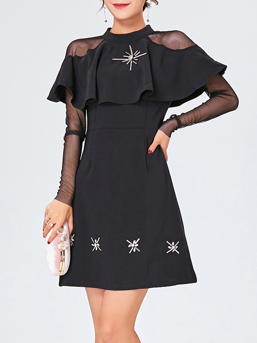 Band Collar Flounce See-Through Plain Shift Dress
