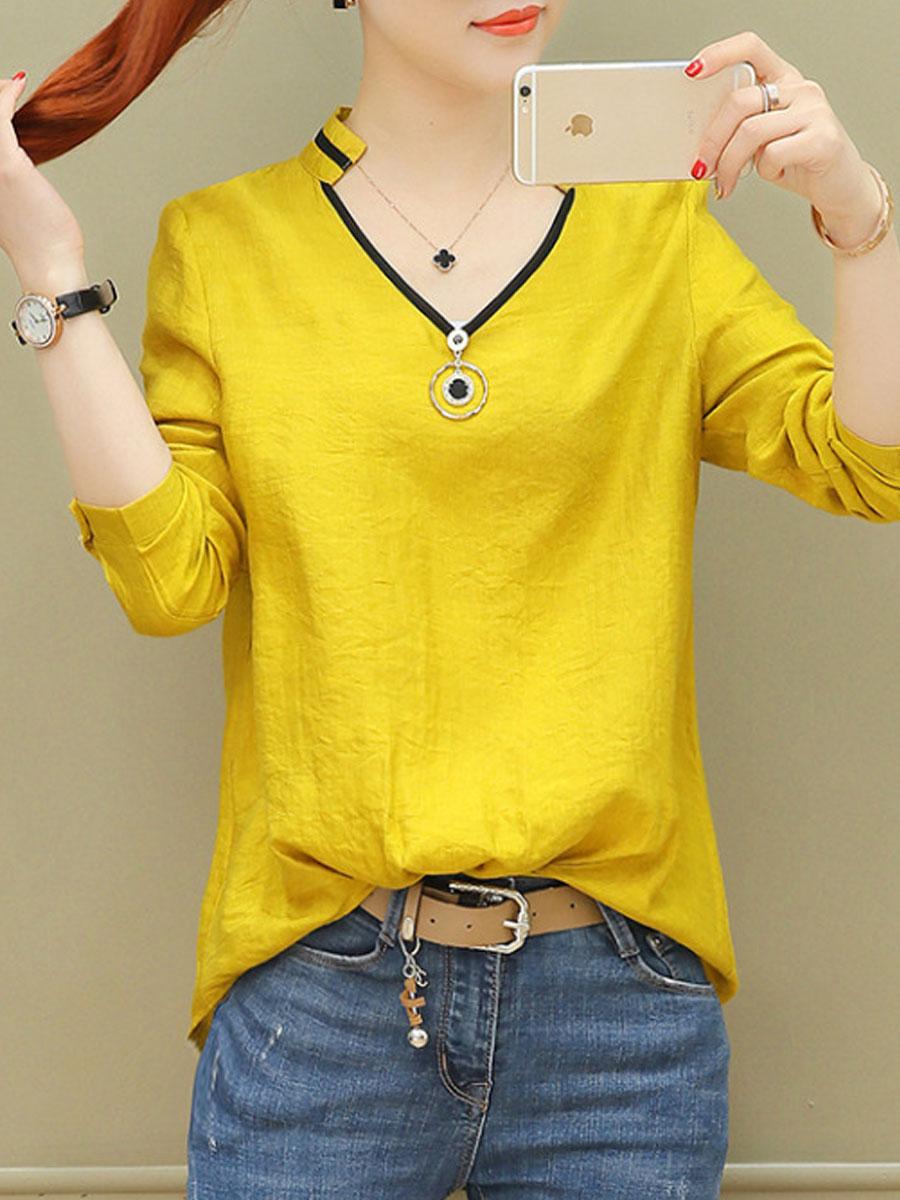 Image For Autumn Spring  Polyester  Women  V-Neck  Plain  Long Sleeve Blouses