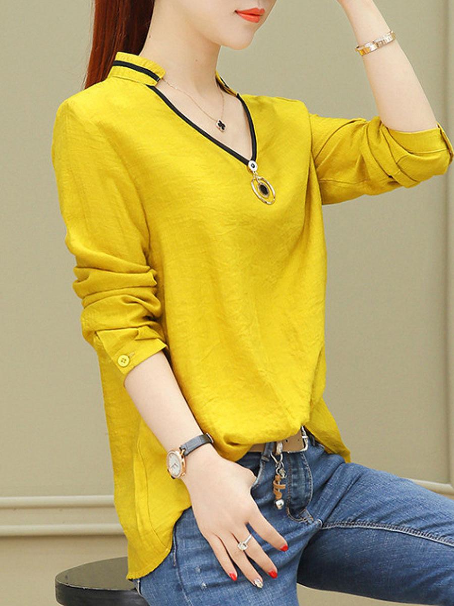 Autumn Spring  Polyester  Women  V-Neck  Plain  Long Sleeve Blouses