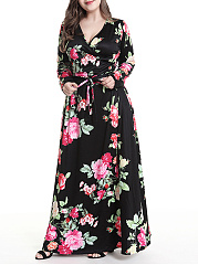 V-Neck  Lace-Up  Printed Plus Size Midi  Maxi Dress