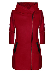 Autumn-Spring-Blend-Women-Hooded-Slit-Pocket-Zips-Plain-Long-Sleeve-Hoodies