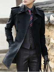 Lapel Plain Double Breasted Belt Woolen Men Coat