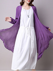 Drawstring Pocket Color Block Two-Piece Maxi Dress
