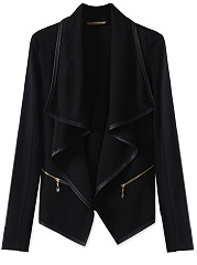 Lapel  Zips  Leather-Trimmed  Plain Cardigan