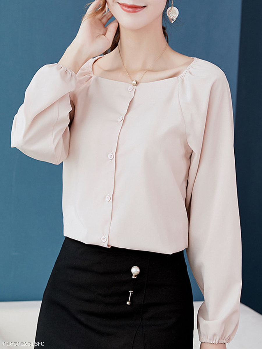 Autumn Spring  Polyester  Women  Square Neck  Single Breasted  Plain  Long Sleeve Blouses