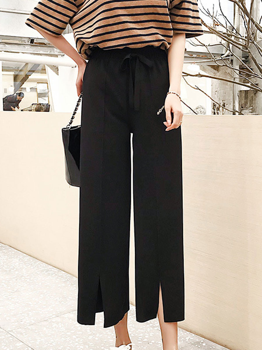 Image For Lightweight  Plain  High-Rise Casual Pants For Women