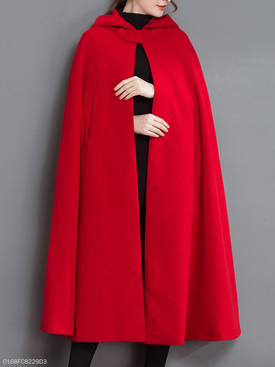 Hooded  Plain  Cape Sleeve Coats