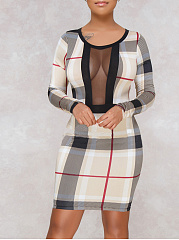 Round Neck  Patchwork See-Through  Plaid Bodycon Dress