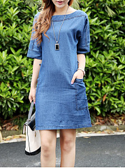 Collarless-Patch-Pocket-Plain-Cotton-Casual-Dresses