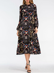 Round Neck Puff Sleeve Printed Maxi Dress