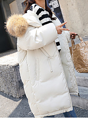 Faux Fur Collar  Drawstring Slit Pocket Zips  Plain  Long Sleeve Coats