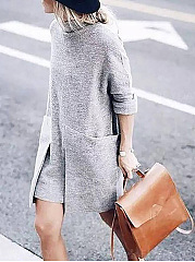 High Neck  Patch Pocket Fashion  Plain Shift Dress