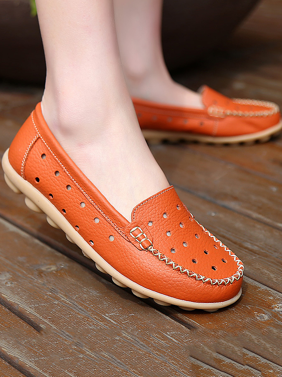 Hollow Out Soft Sole Loafers