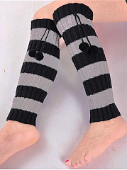 Striped Knitting Boots Long Stocking Long Leg Warmers