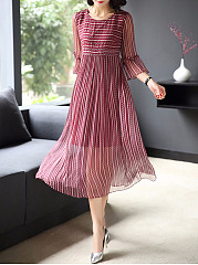 Round Neck Hollow Out Striped Bell Sleeve Skater Dress