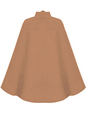High Neck Rivet Plain Woolen Cape
