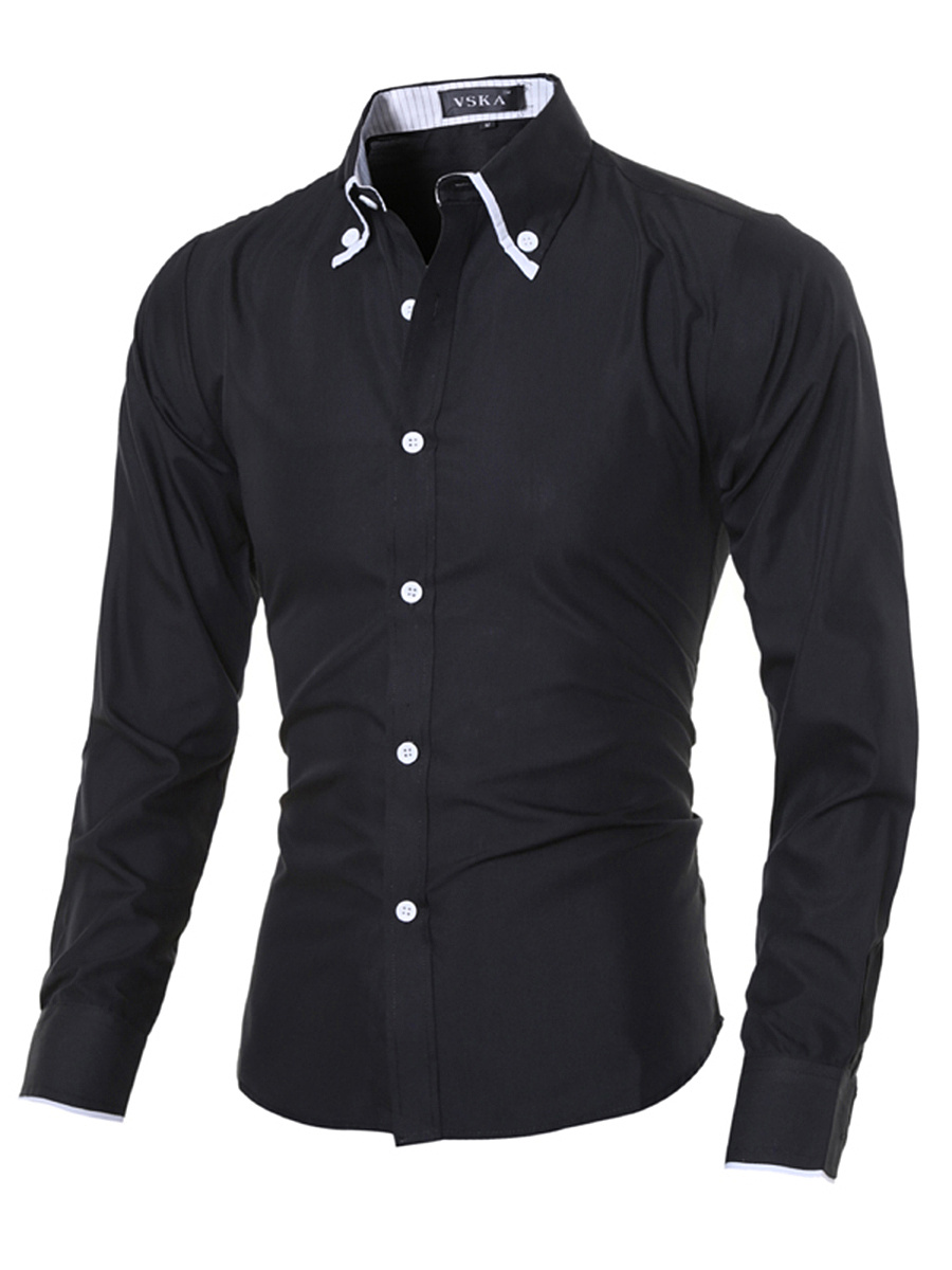 Button Down Collar Contrast Trim Men Shirts