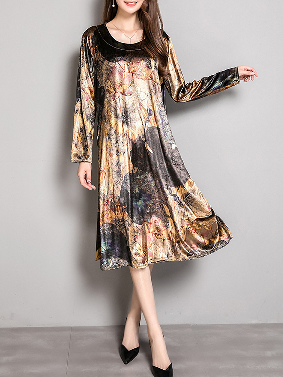 Loose Round Neck Floral Printed Velvet Maxi Dress