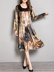 Loose-Round-Neck-Floral-Printed-Velvet-Maxi-Dress