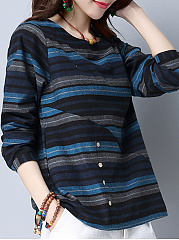 Round Neck  Loose Fitting Patchwork  Decorative Buttons  Stripes Blouses