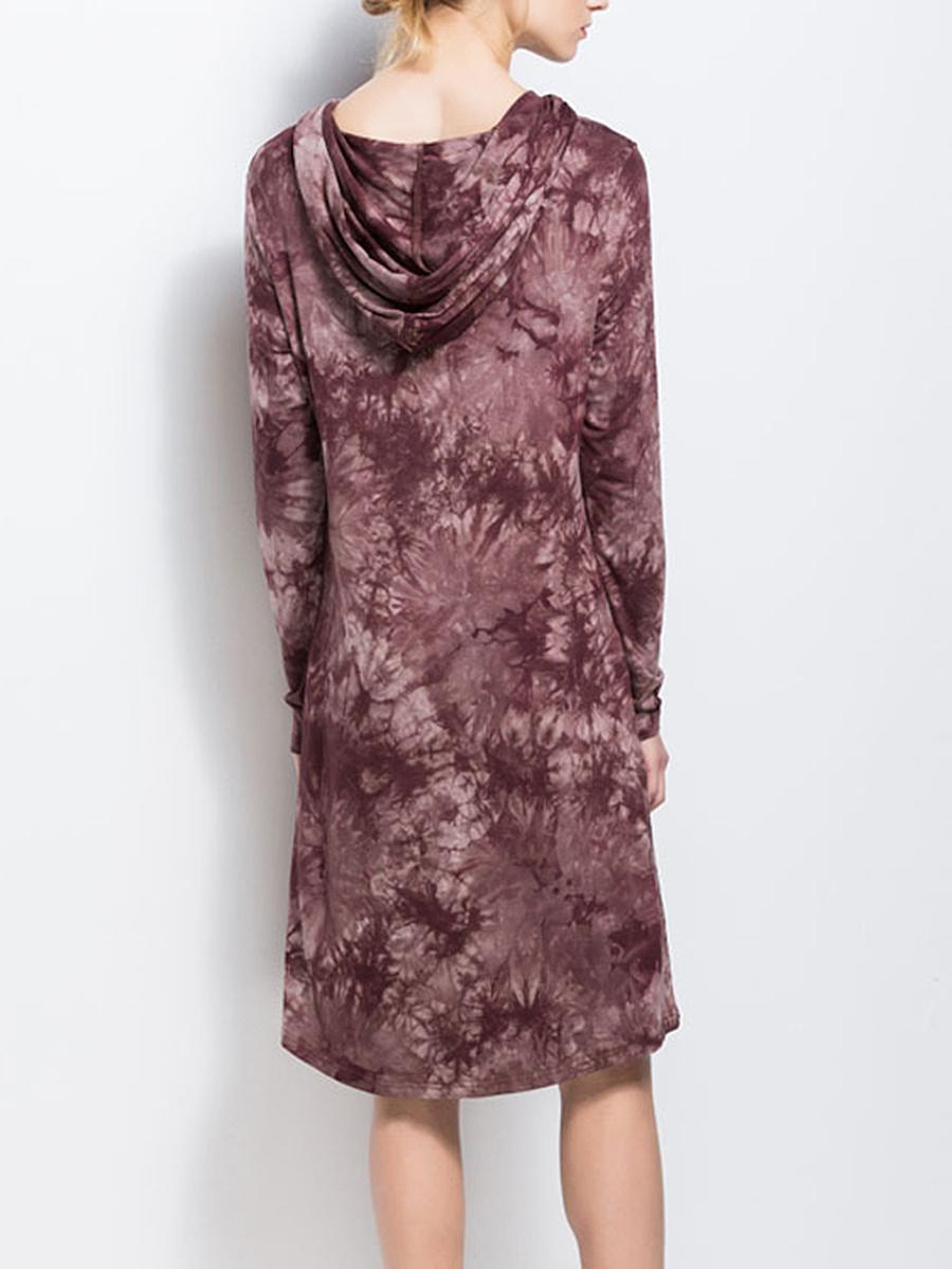 Hooded  Tie/Dye  Polyester Shift Dress