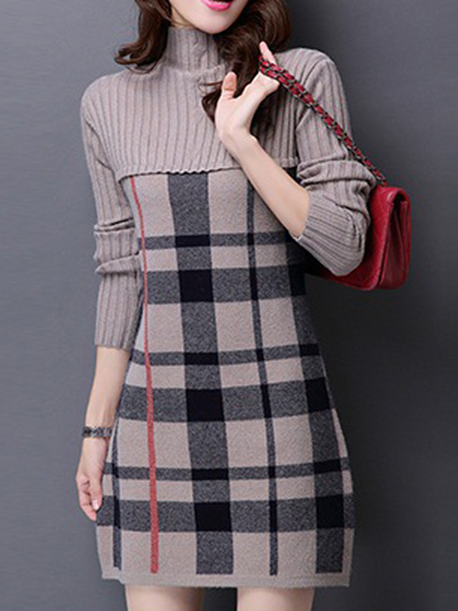High Neck Plaid Bodycon Dress