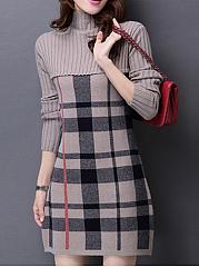 High-Neck-Plaid-Bodycon-Dress