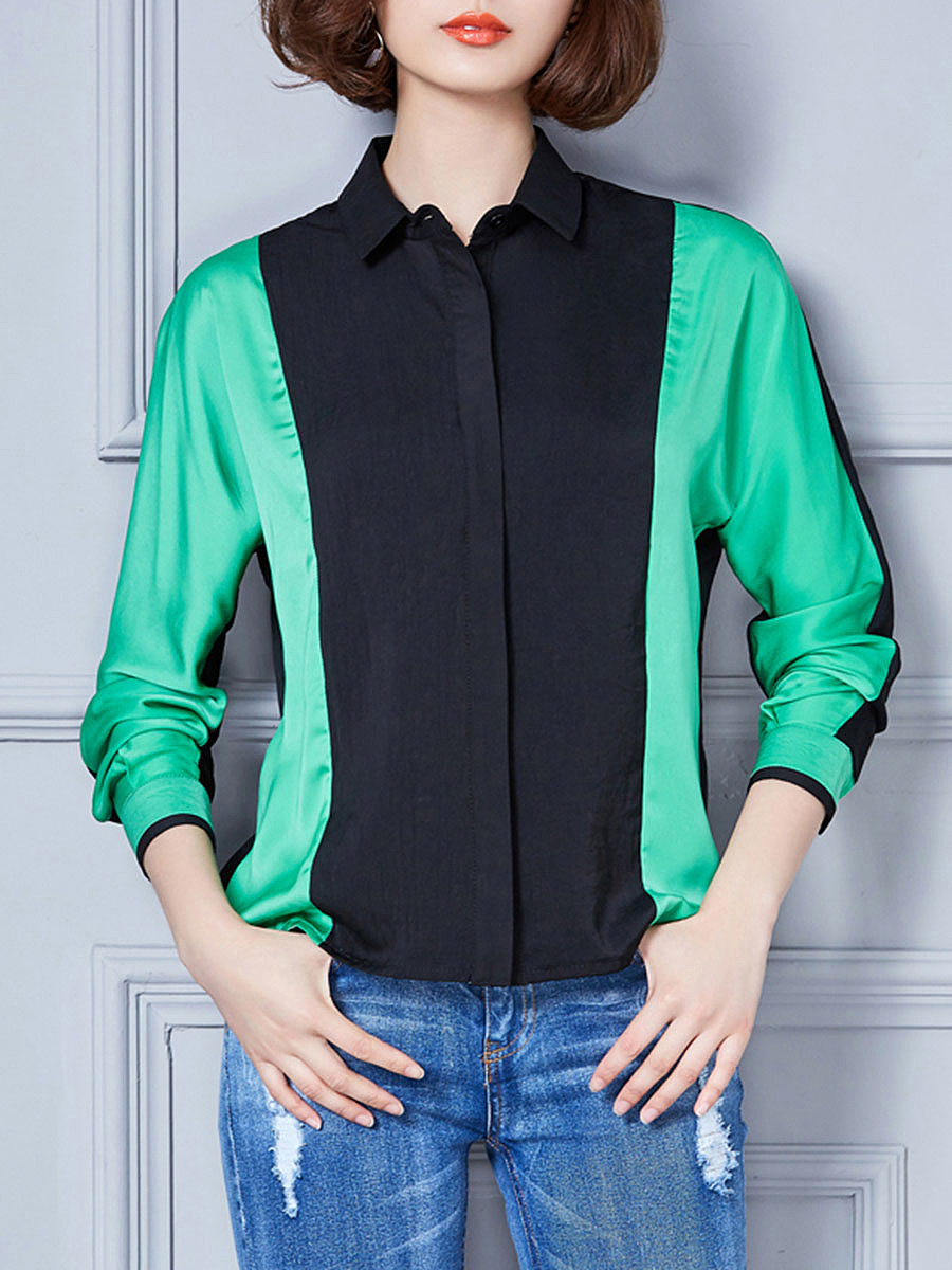 Modern Color Block Chiffon Blouse