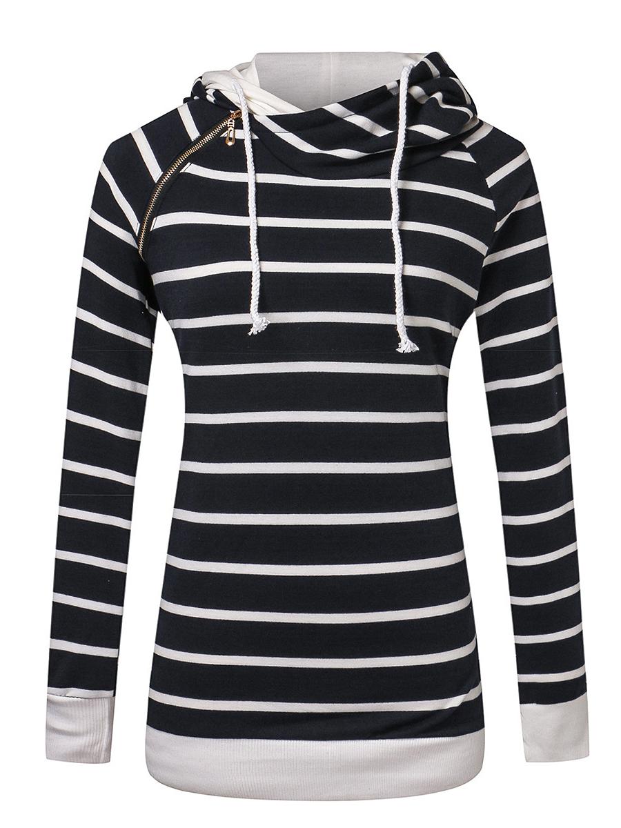 Striped Zips Raglan Sleeve Hoodie