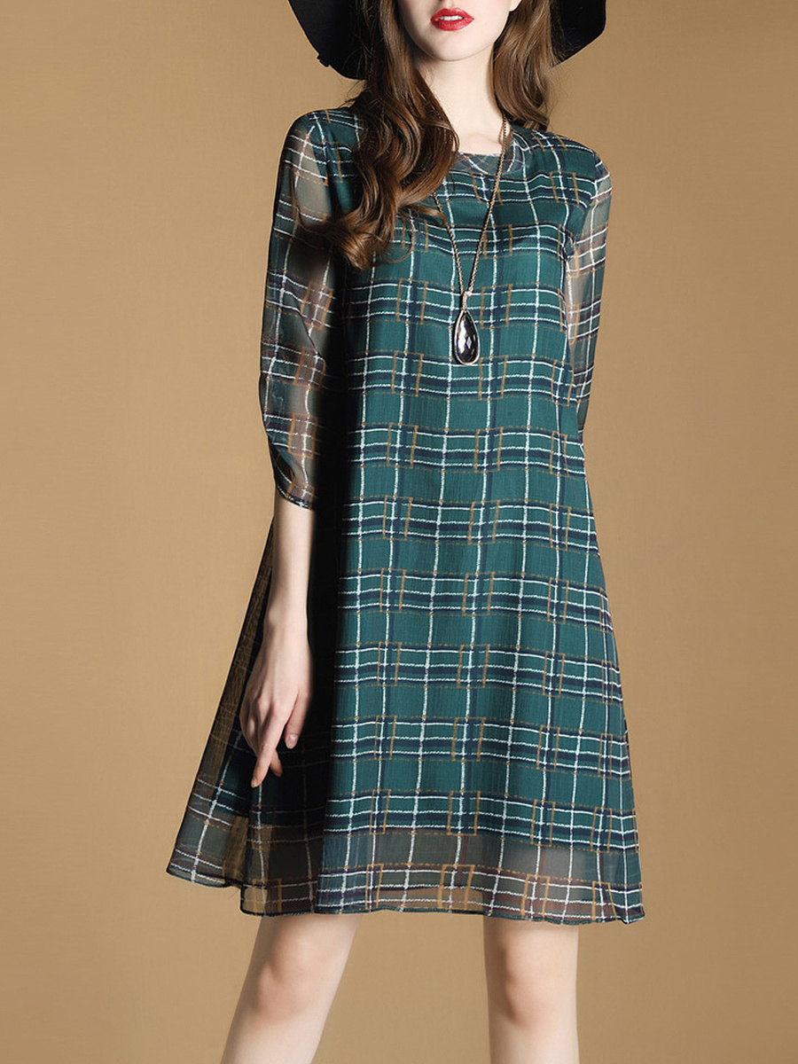 Round Neck Hollow Out Plaid Chiffon Shift Dress