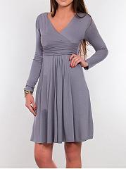 Deep-V-Neck-Ruched-Plain-Empire-Skater-Dress