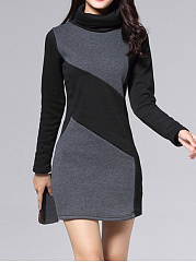 Fold-Over Collar  Cutout  Colouring Corduroy Bodycon Dresses