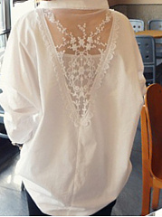 V Neck  Decorative Lace  Plain Blouses