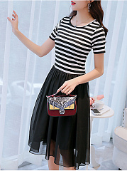 Crew Neck  Patchwork Ruffled Hem  Contrast Piping  Striped Skater Dress